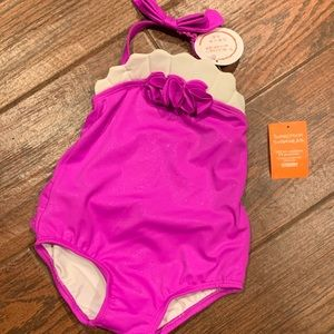 NWT Baby girl Gymboree fuchsia swimsuit sz 12-18 m